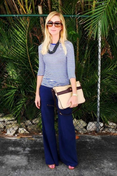 erika thomas miami blogger palazzo pants stripes