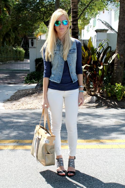white jeans denim vest miami